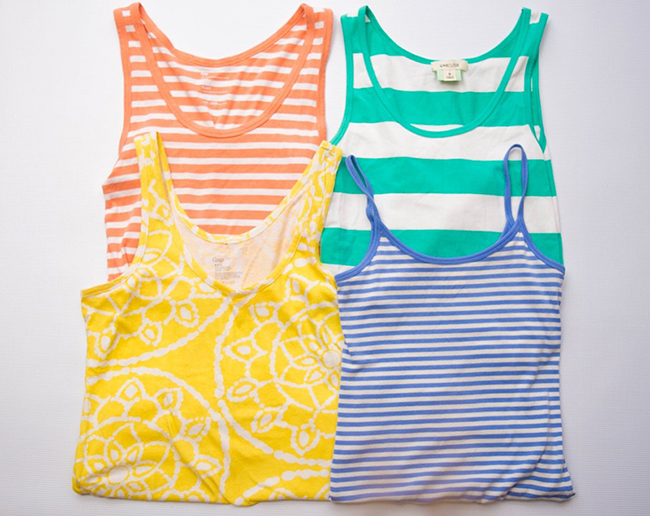 Casual patterned tanks – Goodwill San Diego locations are stocked with tanks, many under three dollars! Can't go wrong with stripes for summer.